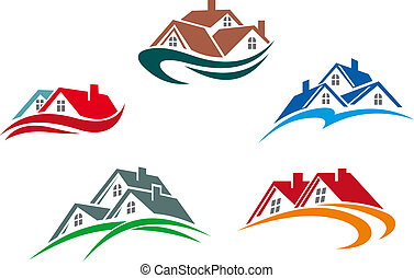 Real estate symbols - roofs of houses and buildings