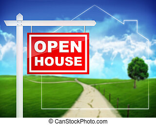 Real Estate Tablet - Open House. 2D Artwork. computer design.