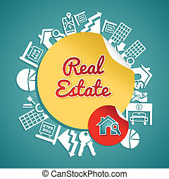 Real estate text, circle, house and lens icons, rental ...