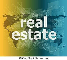 real estate text on touch screen vector illustration