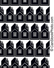 Real estate theme vector symmetric seamless pattern, abstract houses depiction. Property developer idea, for use in graphic design.