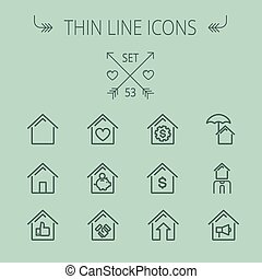 Real estate thin line icon set for web and mobile. Set includes- house heart, umbrella, dollar sign, piggy bank, megaphone icons. Modern minimalistic flat design. Vector dark grey icon on grey background.