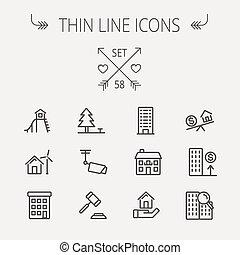 Real Estate thin line icon set - Real estate thin line icon...