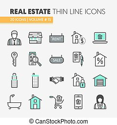 Real Estate Thin Line Vector Icons Set with Agent and Houses
