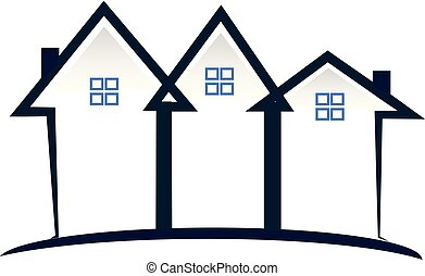 Real estate townhouse community icon vector logo