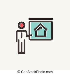 Real Estate Training thin line icon