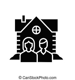 Real estate use black icon, concept illustration, vector flat symbol, glyph sign.