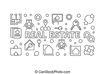Real Estate vector horizontal banner in outline style
