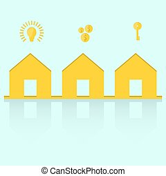 Real estate vector house logo, with concept of key, coins and an electric light bulb