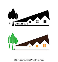 Real estate. Vector illustration house and tree on white background