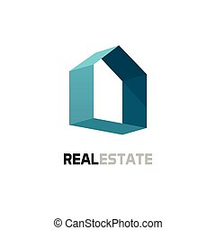 Real estate vector logo, 3d abstract geometric home symbol