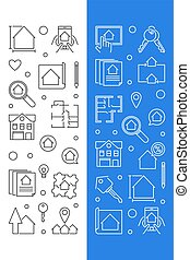 Real Estate vector set of 2 banners in thin line style
