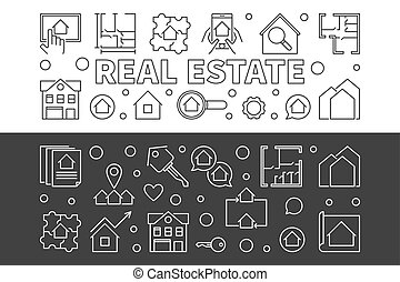 Real Estate vector set of 2 horizontal banners in line style