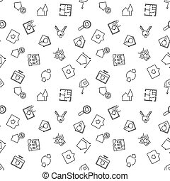 Real estate vector thin line seamless pattern - Real estate...
