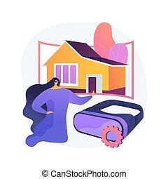 Real estate virtual tour abstract concept vector ...