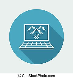 Real estate website symbol - Vector icon of computer application
