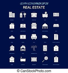 Real Estate White icon over Blue background. 25 Icon Pack