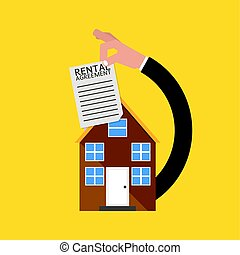 Real Estate With Rental Agreement Vector Illustration