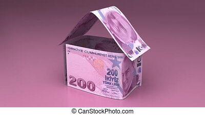 Real Estate with Turkish Lira - Real Estate Animation with...