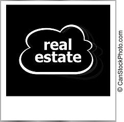 real estate word business concept, photo frame isolated on white