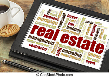 real estate word cloud on tablet