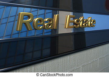 real estate word over a modern facade with reflection of a building in the mirror