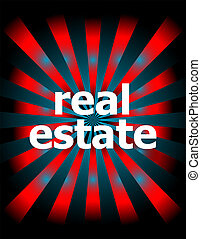 real estate word with motion rays on background