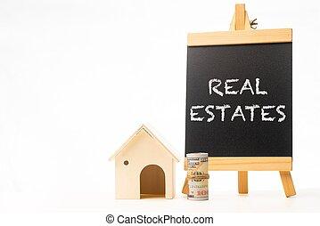 Real Estates wordings on a chalkboard