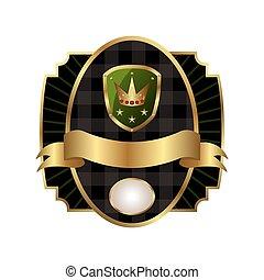 real, etiqueta, com, dourado, quadro, escudo, coroa