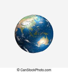 real, feito, globo, -, ilustração, austrália, ásia,...