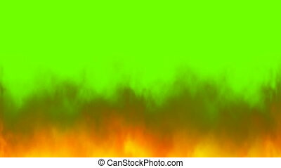 Real fire flames on chroma key, green screen background