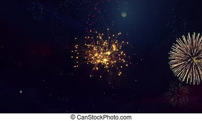 Real Fireworks 4k on Black Background loop Sky on Futuristic Fireworks Festival show. Independence day, 4 July, Happy Birthday, Wedding, New Year, Confetti, Diwali, Christmas, Event, Invitation