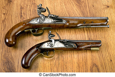Real Flintlock Pistols. - English 18th century flintlock...