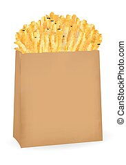 real french fries in a brown paper package