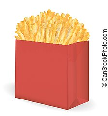 real french fries in a red paper package