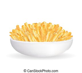 real french fries in a white bowl vector