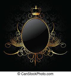 real, fundo, com, dourado, frame., vetorial