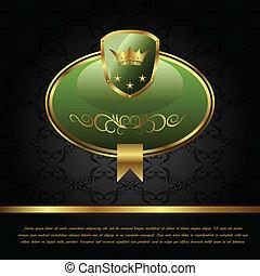real, fundo, com, dourado, quadro, escudo, coroa