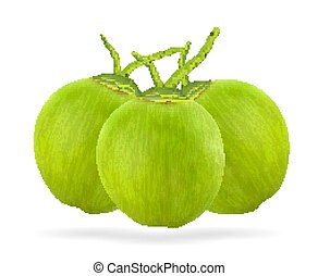 real green coconut on a white background