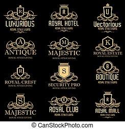 real, heráldico, lujoso, cresta, logotipos