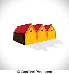 real, house(home), store(shed), espaço, escritório, &, etc, residencial, graphic., storehouse, armazenamento, ilustração, ou, símbolo, também, vender, vetorial, propriedade, estate-, comprando, ícone