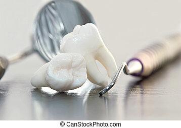 teeth and dental instruments