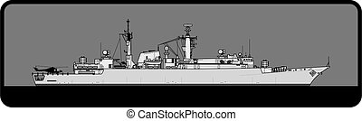 real, ii, tipo, 22, lote, frigate., navy., broadsword-class