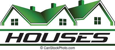 real, image., propriedade, casas, vetorial, verde, ícone