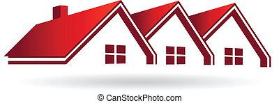 real, image., propriedade, casas, vetorial, vermelho, ícone