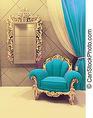 real, interior, lujoso, tapicería, muebles, terciopelo