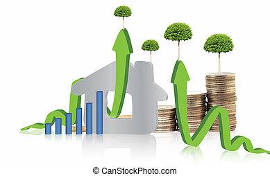 real, investir, conceito, propriedade