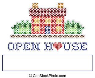 real, jarda, propriedade, casa, sinal, abertos