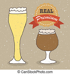 Illustration of vintage hand drawn real ale and lager beer