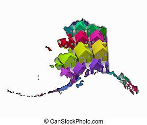 real, lares, propriedade, mapa, ak, alasca, ilustração,...